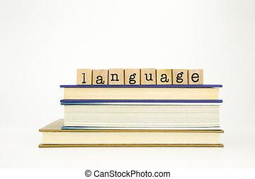 livres, timbres, bois, mot, langue