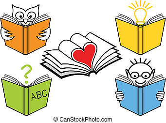 livres, vecteur, ouvert