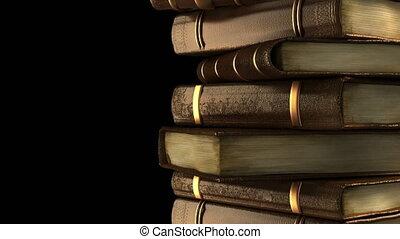 livres, vieux, bibliothèque, pile