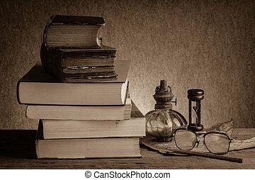 livres, vieux, nature morte