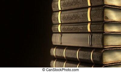 livres, vieux, très, pile