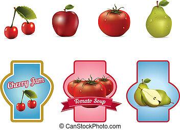 llabels, fruits