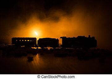 locomotive, horreur, vapeur, scène, nuit, night., brûler, train, en mouvement, arrière-plan., railroad., orange, mystique, ancien