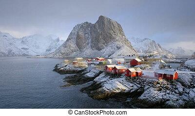 lofoten, norvège, îles, hamnoy, village