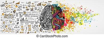 logique, business, moitié, cerveau humain, vecteur, side., infographic, communication, aboud, gauche, travail, droit, logique, illustration, mind., créatif, social
