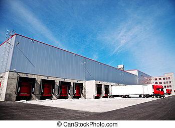 logistique, bâtiment, camion