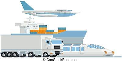 logistique, cargaison, art, fret, distributeur, transport