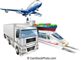 logistique, cargaison, concept, train, camion, avion, bateau