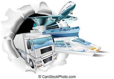 logistique, cargaison, concept, transport