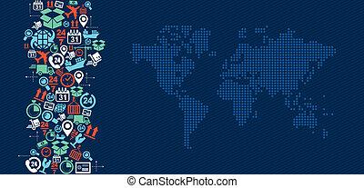 logistique, carte, illustration., icônes, expédition, éclaboussure, mondiale