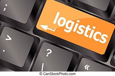 logistique, concept affaires, ordinateur portable, illustration, vecteur, mots, clavier