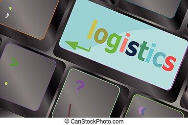logistique, concept, business, ordinateur portable, button., illustration, vecteur, key., mots, clavier, clavier