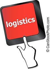 logistique, concept, business, ordinateur portable, vecteur, mots, clavier