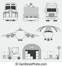 logistique, expédition, icônes