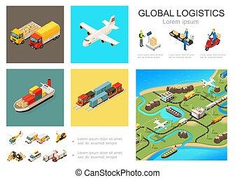 logistique, global, isométrique, concept, infographic