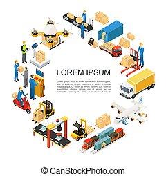 logistique, global, isométrique, concept, rond