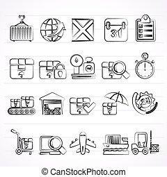 logistique, icônes, expédition