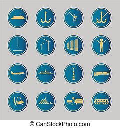 logistique, icons., bleu, industriel
