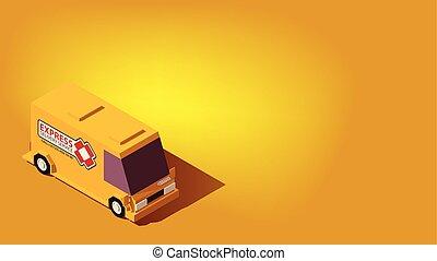 logistique, isométrique, concept., exprès, relocalisation, jaune, livraison, voiture., ou