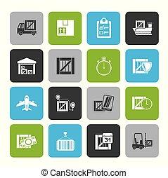 logistique, livraison, expédition, cargaison, icônes