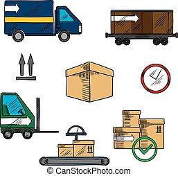logistique, livraison, expédition, icônes
