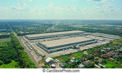 logistique, livraison, ville, industrie, camion transport, business, parc