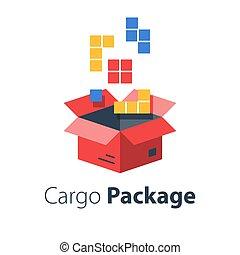logistique, magasin, paquet, ensemble, multiple, articles, ordre, grand, boîte, services, réunir, meute