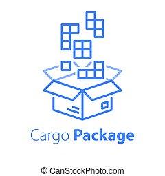 logistique, magasin, paquet, multiple, ordre, meute, articles, grand, services, boîte, réunir, ensemble