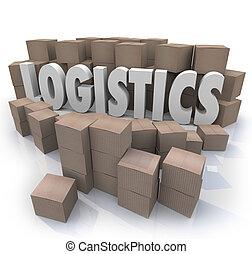 logistique, mot, expédition, efficacité, boîtes, entrepôt