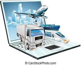 logistique, ordinateur portable, concept, informatique