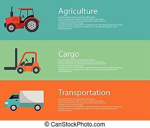 logistique, plat, moderne, cargaison, élévateur, vehicles., créatif, vecteur, conception, camion, agriculture, tracteur