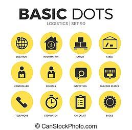 logistique, plat, vecteur, ensemble, icônes