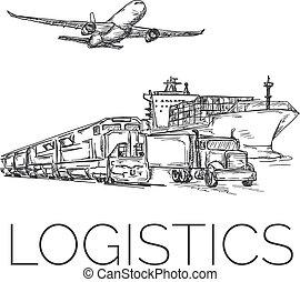 logistique, récipient, avion, signe, train, camion, bateau