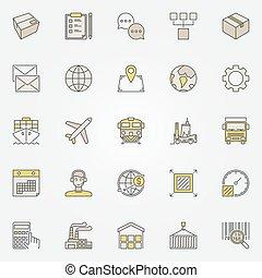 logistique, transport, coloré, icônes