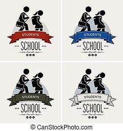 logo, école, dos, design.