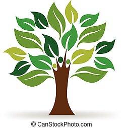 logo, écologie, arbre, gens