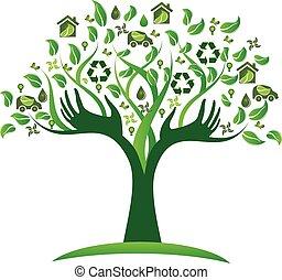 logo, écologique, arbre, vert, mains