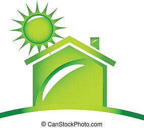 logo, écologique, icône, maison