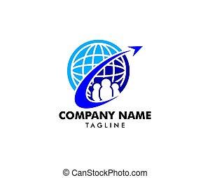 logo, élément, agence, conception, voyage, global