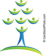 logo, équipe, arbre, gens