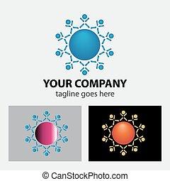 logo, équipe, connecté, gens