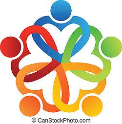 logo, équipe, imbriqué, 5, cœurs