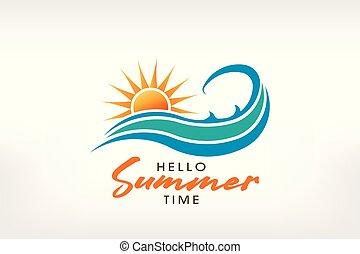 logo, été, wave., ensoleillé, conception