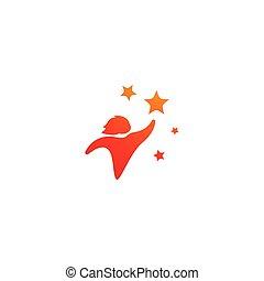 logo, étoile, gosses