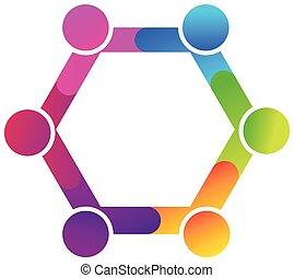 logo, étreinte, diversité, gens, collaboration