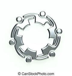 logo, 3d, argent, gens
