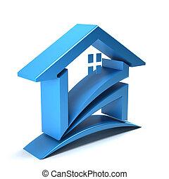 logo, 3d, maison