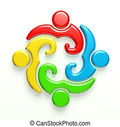 logo, 3d, réunion, 4 personnes