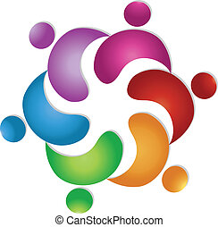 logo, 6, collaboration, amitié, gens