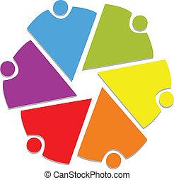 logo, 6, collaboration, communauté, gens